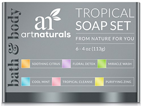 ArtNaturals 6 Piece Soap Bar Set, 100% Natural and Infused with Jojoba Oil, Best for All Skin Types, Body and Face, Men and Women, Tea Tree/Lavender/Eucalyptus/Lemon/Grapefruit/Orange, 4 oz. - Type Oil Body