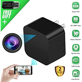 Spy Camera Wireless Hidden Camera USB Wall Charger, WiFi Nanny Cam 1080P HD Mini Camera for Security Surveillance, Motion Detection Camera Plug in with ...