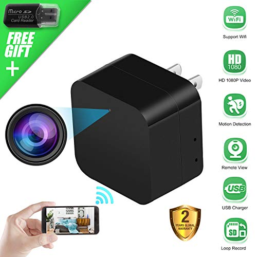 Spy Camera Wireless Hidden Camera USB Wall Charger, WiFi Nanny Cam 1080P HD Mini Camera for Security Surveillance, Motion Detection Camera Plug in with Phone APP for Home ()