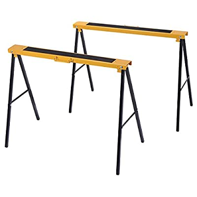 Goplus 2 Pack Heavy Duty Sawhorse Steel Folding Adjustable Legs Portable Saw Horse Pair from Superbuy