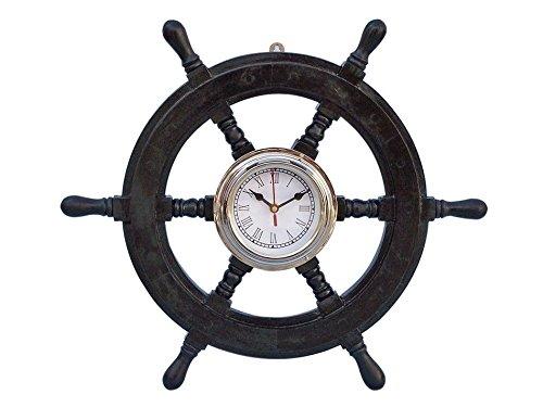 18 inch Ship Wheel Wooden Pirate Boat Nautical Fishing Clock
