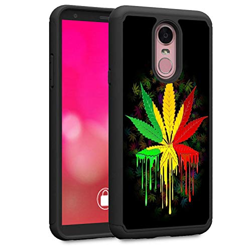 LG Stylo 4 Case, LG Q Stylus Case, LG Stylo 4 Plus Case, Rossy Heavy Duty Hybrid TPU Plastic Dual Layer Armor Defender Protection Case Cover for LG Stylo 4 2018,Marijuana Leaf (Marijuana Leaf Case)