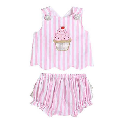 - 33328020093 Top & Bloomer Set Pink Stripes Cupcake
