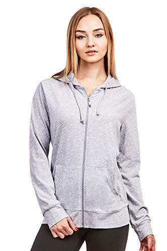 - Women's Zip Up Cotton Light Hoodie Jacket Plus Size (XL, Heather Gray)