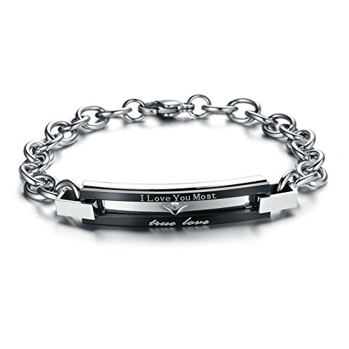 UM Jewelry Cubic Zirconia Stainless Steel Couple Promise Chain Bracelet for Men Women Two Tone