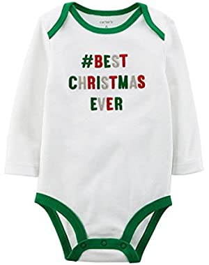 Carter's Infant Baby Boys White Best Christmas Ever Creeper Holiday Bodysuit