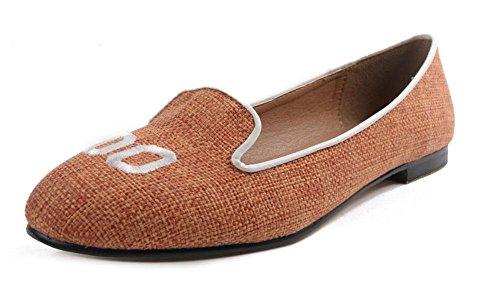 Toe Mujeres orange GLTER Zapatos Cartas Nuevo Naranja Sandalias Sen Mujeres Planos Sandalias Toe Bordado De Negro Tacón Ronda Zapatos Femenino Bombas Bajo Closed Pnw0OrPx
