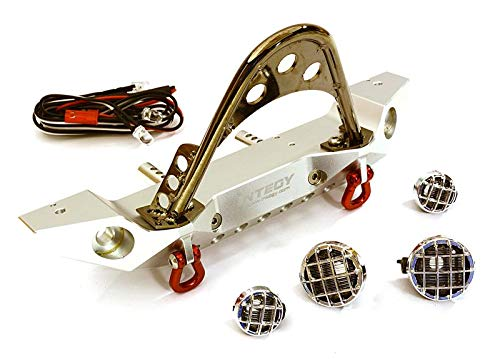 Integy RC Model Hop-ups C27656SILVER Realistic Alloy Machined Scale Front Bumper w/LED Lights for Axial 1/10 SCX10 II