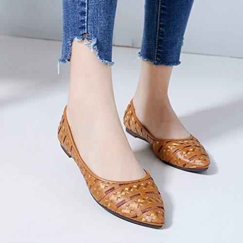 De Confortablesbottines FemmeChaussures Bohême Pointu Mode Chaussure Style Profondebottes Sonnena Bouche Peu Bout Femmes Plates Marron qLSUzMVpG