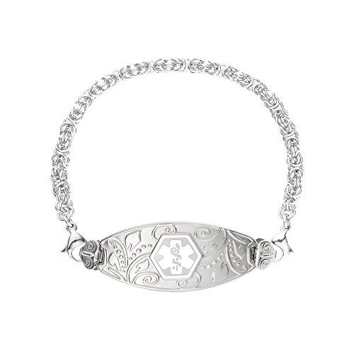 (Divoti Deep Custom Laser Engraved Lovely Filigree Medical Alert Bracelet -Stainless Handmade Byzantine -White-6.0
