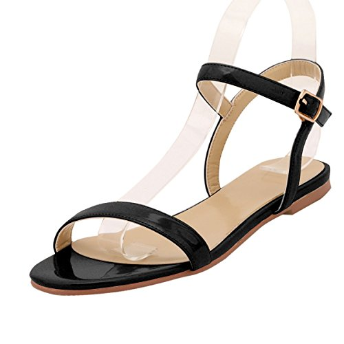 ZriEy women's New Style Flat Sandals Sexy Ankle Strap Buckle Low heel Shoes Black size - Sexy Buckle