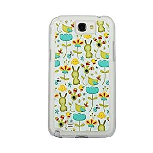 GJY The Rabbit In The Flowers Leather Vein Pattern PC Hard Case for Samsung Note2 N7100