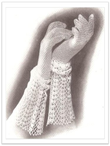 #2033 GLOVE WITH LACE CUFF VINTAGE CROCHET PATTERN