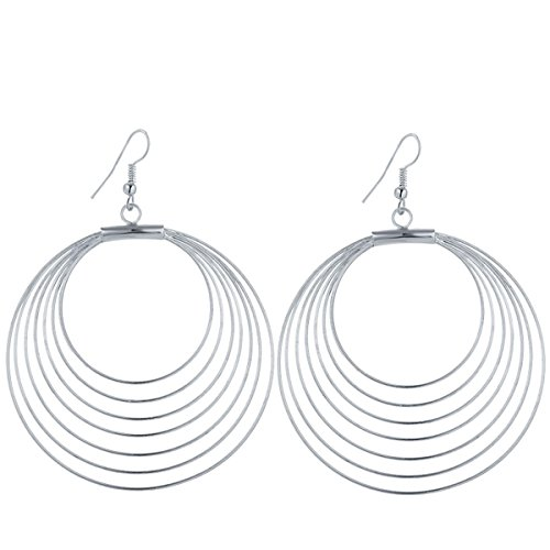 IDB Productions IDB Delicate Filigree Dangle Multi Hoop Large Drop Hook Earrings - available in silver and gold tones (Silver (Gold Multi Circle Earrings)