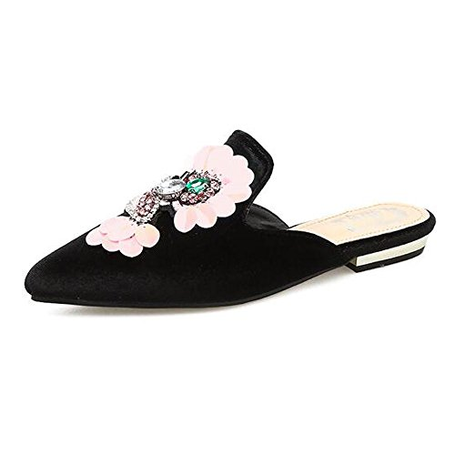 Mules Crushed Loafers Woman Black Embroidery Pointed Backless Velvet Toe Women's For Slippers EtFwrtq