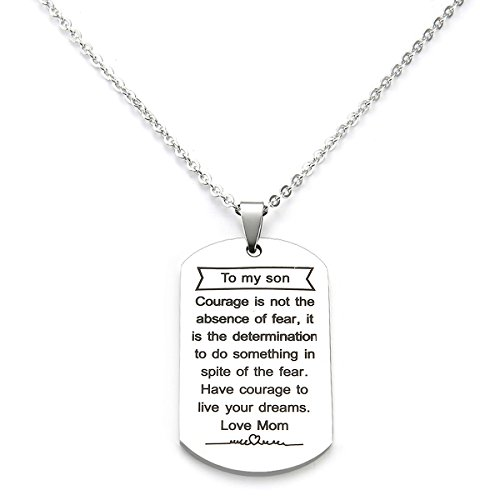 To My Son Dog Tag Gifts Necklace Mother Pendant Military Birthday Gift