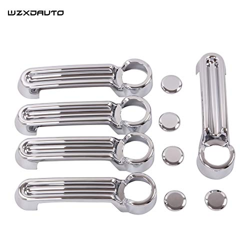 Wzxdauto Abs Chrome Planted 5PCS Door Handle Cover Kit and Tailgate Handle Cover for 07-17 Jeep Wrangler JK / 08-12 Jeep Liberty / 07-11 Dodge Nitro (Silver)