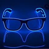 Fronnor Glow Eye Glasses With Voice Control Light Up El Wire Glowing Party Rave Glasses For Halloween,Party Favor (Blue)