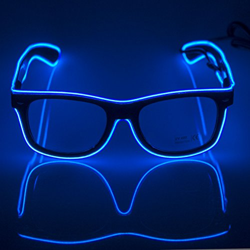Fronnor Glow Eye Glasses With Voice Control Light Up El Wire Glowing Party Rave Glasses For Halloween,Party Favor (Blue) by Fronnor