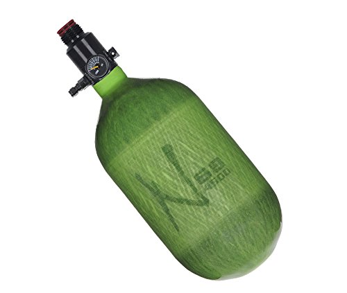 Ninja Paintball Compressed HPA Air Tank w/ Ultralite Regulator (ALL COLORS / SIZES) (68/4500 Carbon, Ultralite Reg, Translucent Lime, 68ci)