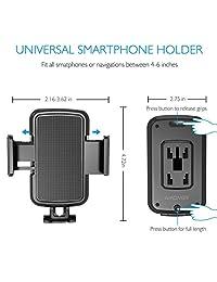 Amoner - Soporte universal para CD y teléfono móvil para coche compatible con todos los smartphones de hasta 6,5 pulgadas