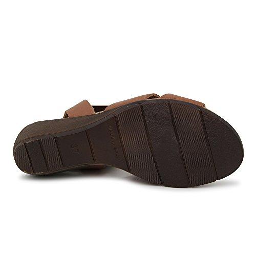 Sandalia Minicuña En Piel Marrón Marrón