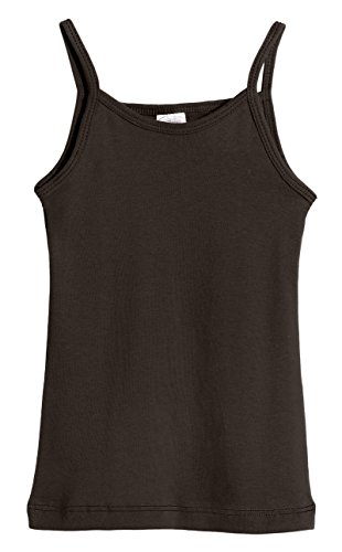 City Threads Big Girls' Cotton Camisole Cami Tank Top T-Shirt Tee Tshirt Spaghetti Straps Summer Play School Sports Sensitive Skin SPD Sensory Sensitive Clothing - Chocolate - -