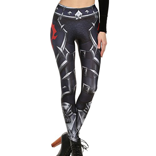 Mad Ink Women's Girls Pioneer Warrior Sexy Tattoo Digital Print Elasticity Leggings Pencil Pants Tights (Spearhead) ()