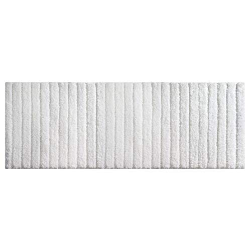 """mDesign Soft Microfiber Polyester Non-Slip Extra-Long Spa Mat/Runner, Plush Water Absorbent Accent Rug for Bathroom Vanity, Bathtub/Shower, Machine Washable - 60"""" x 21"""" - White"""