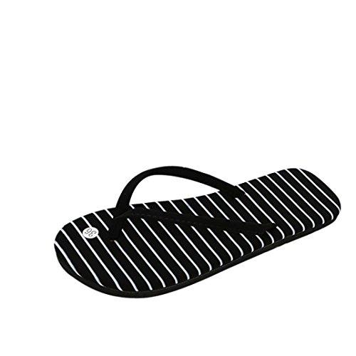 B Sandalen Outdoor LHWY Frauen Flip Sommer Flops Strandschuhe Hausschuhe Striped Mode Damen Zehentrenner Slipper Schwarz Sandalen Punkte Design UCCdRqT