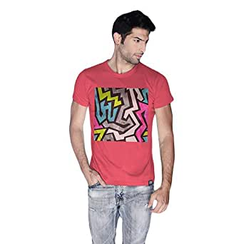 Creo Abstract 01 Retro Printed T-Shirt For Men - M, Pink