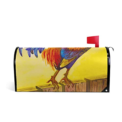 WXLIFE Magnetic Mailbox Cover Vintage Animal Rooster Chicken Cock Mailbox Wrap Letter Post Box Cover Decor, Standard Size 20.8x18 Inch