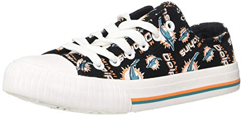 FOCO NFL Womens Low Top Repeat Print Canvas Shoe: Miami Dolphins, -