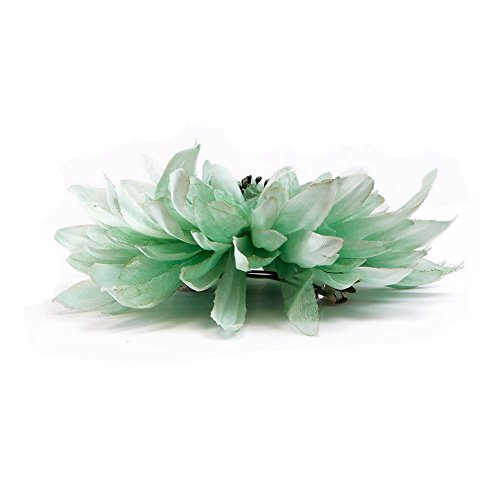Artificial (Silk) Flower Hair Barrettes - Multiple Styles & Colors Available (Chrysanthemum, Black)