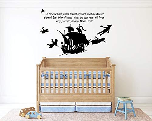 Peter Pan Cartoon Never Grow Up Wall Decal Sticker Ship Pirate Kids Children Boys Nursery Bedroom 1498b