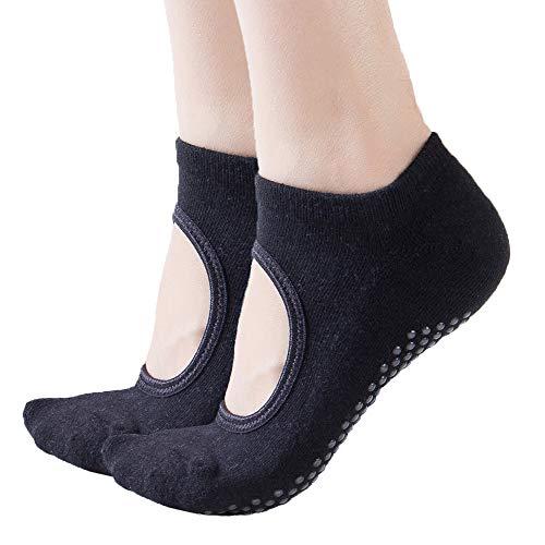 Toes&Feet Women's 2-Pack Black Non-Slip Grips Yoga Pilates Ballet Barre Socks