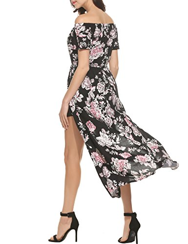 ee28eedb4a17 Meaneor Women Floral Off Shoulder Beach High Low Split Maxi Romper Jumpsuit  Dress