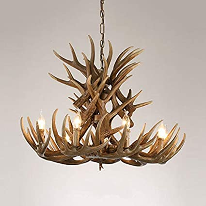 LITFAD Rustic Style Candle Chandelier with Antlers Resin 9 Lights Hanging Light Retro LED Pendant Light for Dining Room Living Room Cafe Restaurant Wood Color