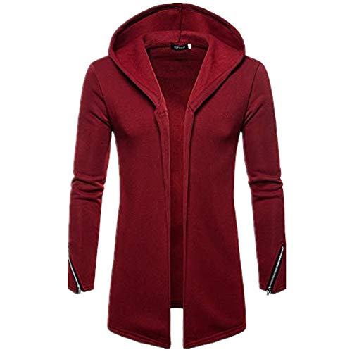 Alimao 2019 New Hooded Coat Cardigan Sweaters For Men Solid Trench Jacket Outwear Blouse (Large, Wine Red)
