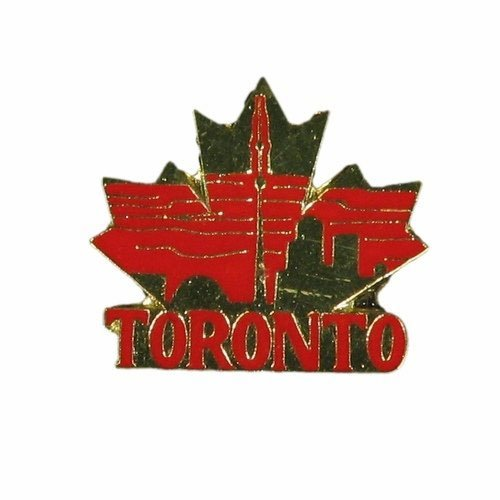 Lapel Pins Toronto - SUPERDAVES SUPERSTORE Toronto Red With Gold Maple Leaf Lapel Pin Badge. New