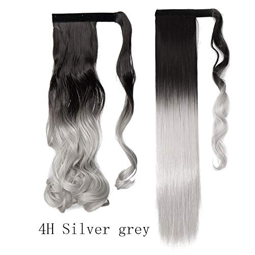 17''23'' Long Wavy Clip In Hair Tail False Hair Ponytail Hairpiece With Hairpins Synthetic Hair Ponytail Hair Extension 4HSilver grey Wavy-17inch