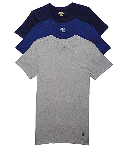- Polo Ralph Lauren Slim Fit Cotton T-Shirt 3-Pack, M, Navy/Blue/Grey