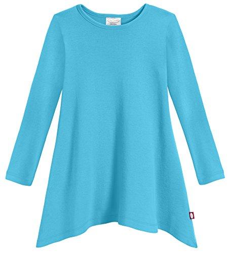 Girls Thermal Top Sleeve Long (City Threads Girls Shark Bite Long Sleeve Tunic Top Blouse Shirt Stylish Modern All Cotton For Sensitive Skins SPD Sensory Friendly, Turquoise, 10)