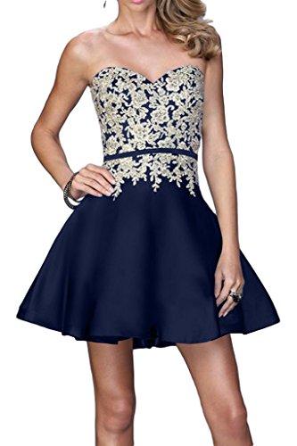 Abendkleid Herzform Damen Promkleid Linie Applikation Partykleid Tintenblau A Ivydressing Spitze Beliebt nzAWqqZ