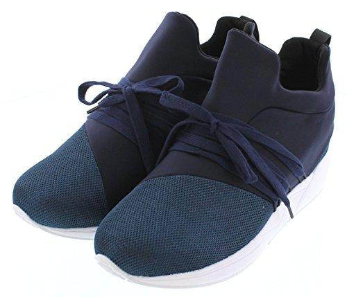 Calto H7197-3 Inches Högre - Höjd Öka Hiss Skor - Djupblå Slip-on Mode Sneakers