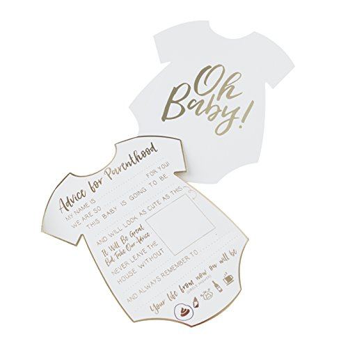 Ginger Ray OB-104 White & Gold Foiled Baby Shower Advice Cards Pack (10Piece)