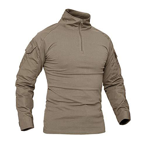 CRYSULLY Mens Slim Fit Military Tactical Long//Short Sleeve Shirt Camouflage Shirts Outdoor Army Combat Shirt