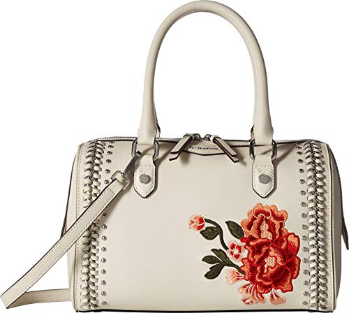 Slip Satchel Woven (Calvin Klein womens Calvin Klein Saffiano Leather Woven Chain and Embroidered Flower Top Zip Satchel, floral white, One Size)