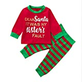 Baby Christmas Clothes,2Pcs My First Christmas Santa Clothes Set Toddler Newborn Infant Baby Boy Girl Christmas Letter Tops+Pants by Covermason
