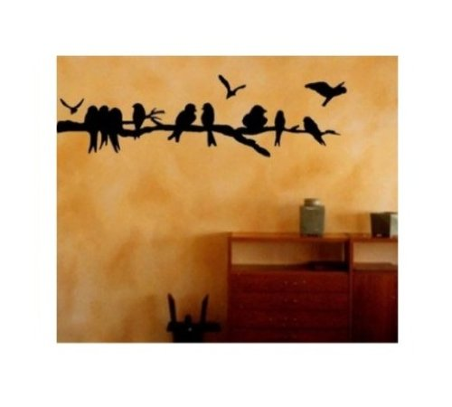 BERRYZILLA Tree Branch Flock of Birds decal Cute Wall Art Home Decor Vinyl Sticker LARGE (Come with glowindark switchplate decal) StickerCiti Brand